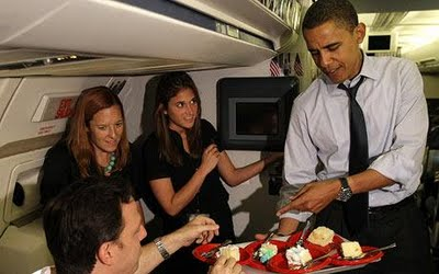 Obama tries for the 'mile high' club with new hot staffers.